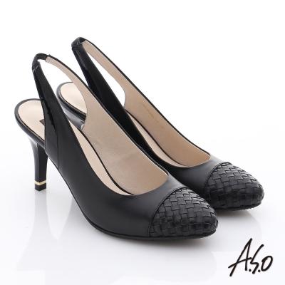 A.S.O 復古女伶 牛皮拼接編織紋高跟涼鞋 黑