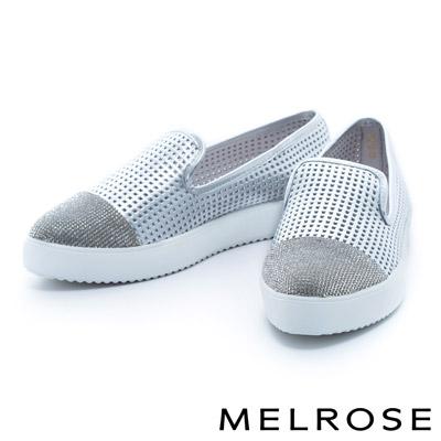 MELROSE-異材質拼接晶鑽牛皮厚底休閒鞋-銀