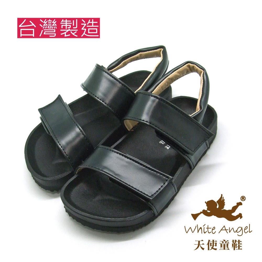 天使童鞋-J835 大膽玩色金屬色涼鞋 (中童)-消光黑