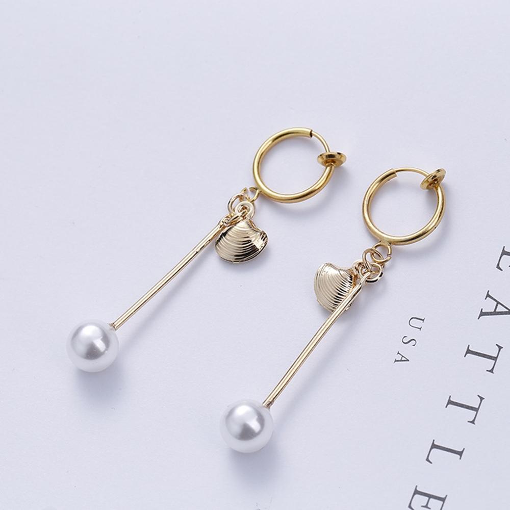 梨花HaNA無耳洞手作貝殼物語珍珠一字耳環夾式