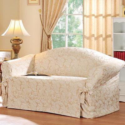 棉花田【艾伯特】提花三人沙發便利套-米色