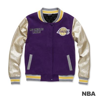 NBA-洛杉磯湖人隊繡花鋪棉撞色棒球外套-紫色(女)