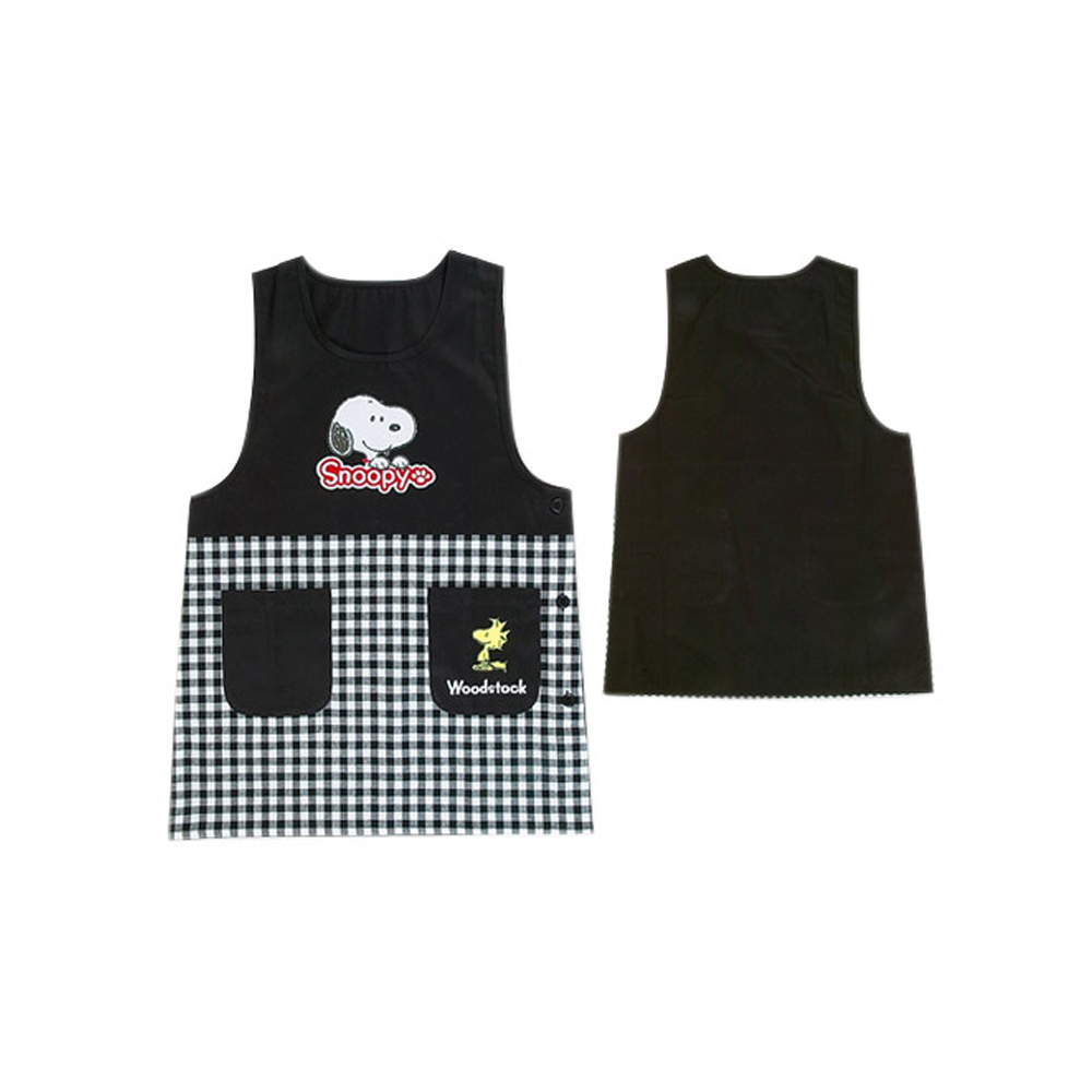 《Sanrio》SNOOPY罩衫式圍裙(黑格)