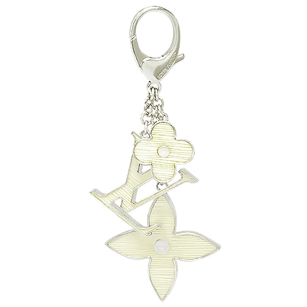 LV M66367 經典Monogram花卉EPI壓紋吊飾/鑰匙圈(象牙白)