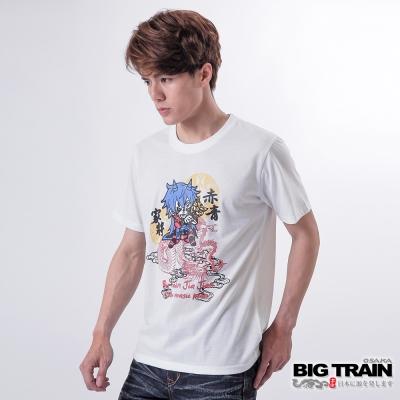 BIG TRAIN 雲龍舞家將圓領TEE-男-白色