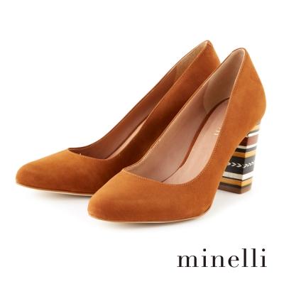 Minelli-真皮粗跟高跟鞋-自然咖