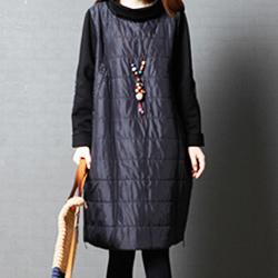 日系 寬鬆高領夾棉長袖連身裙