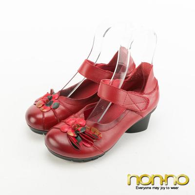 nonno-復古皮雕花魔術氈中跟鞋-紅