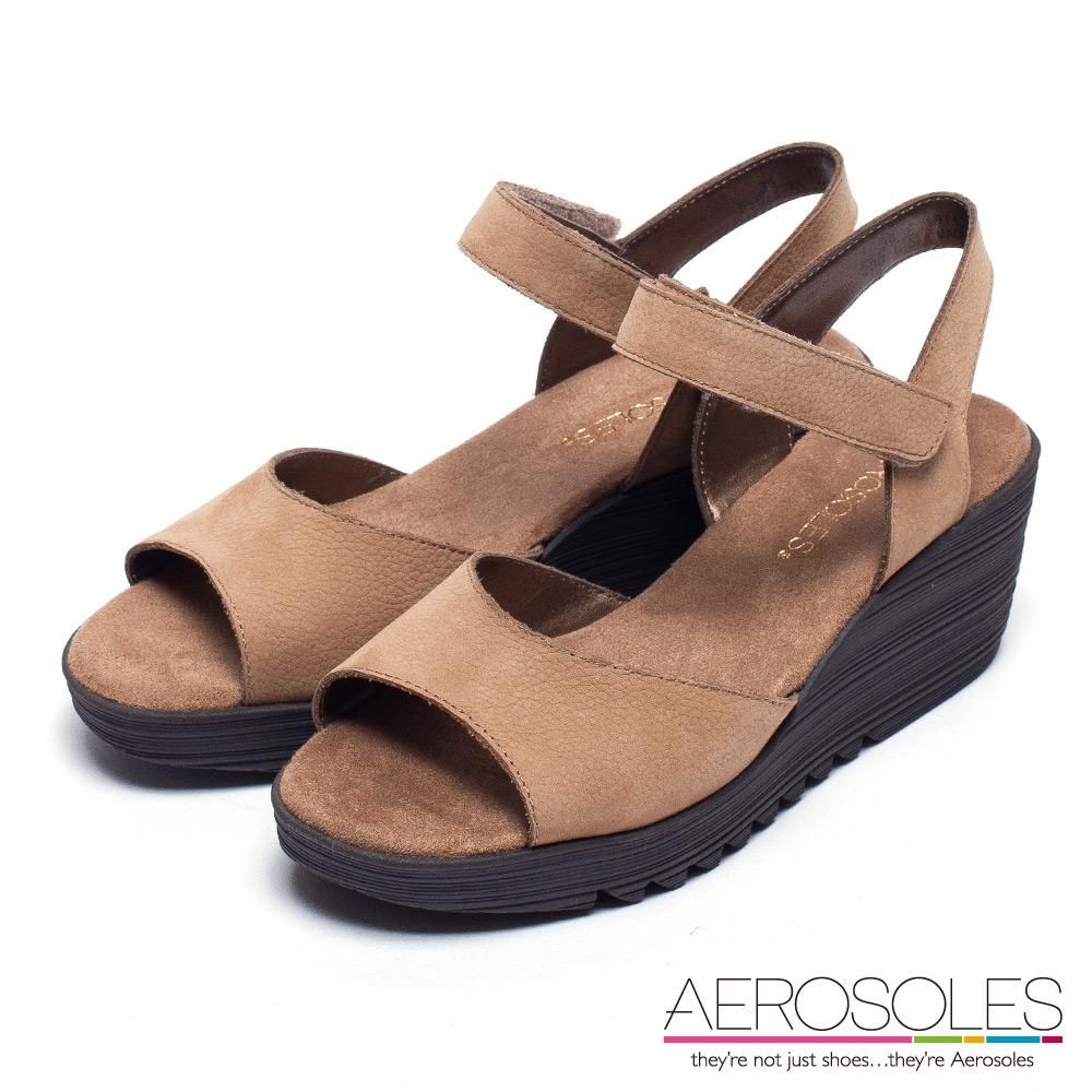 AEROSOLES 簡約風雅舒軟真皮魚口楔型涼鞋~氣質棕
