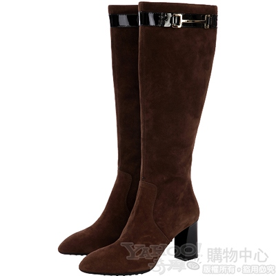 TOD'S 咖啡色釦環綴飾麂皮粗跟長靴
