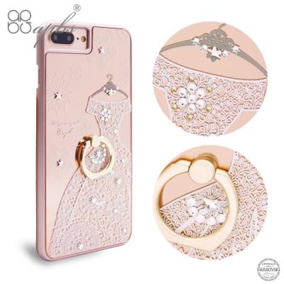 apbs iPhone8/7 4.7吋施華彩鑽鏡面指環扣手機殼-禮服奢華版