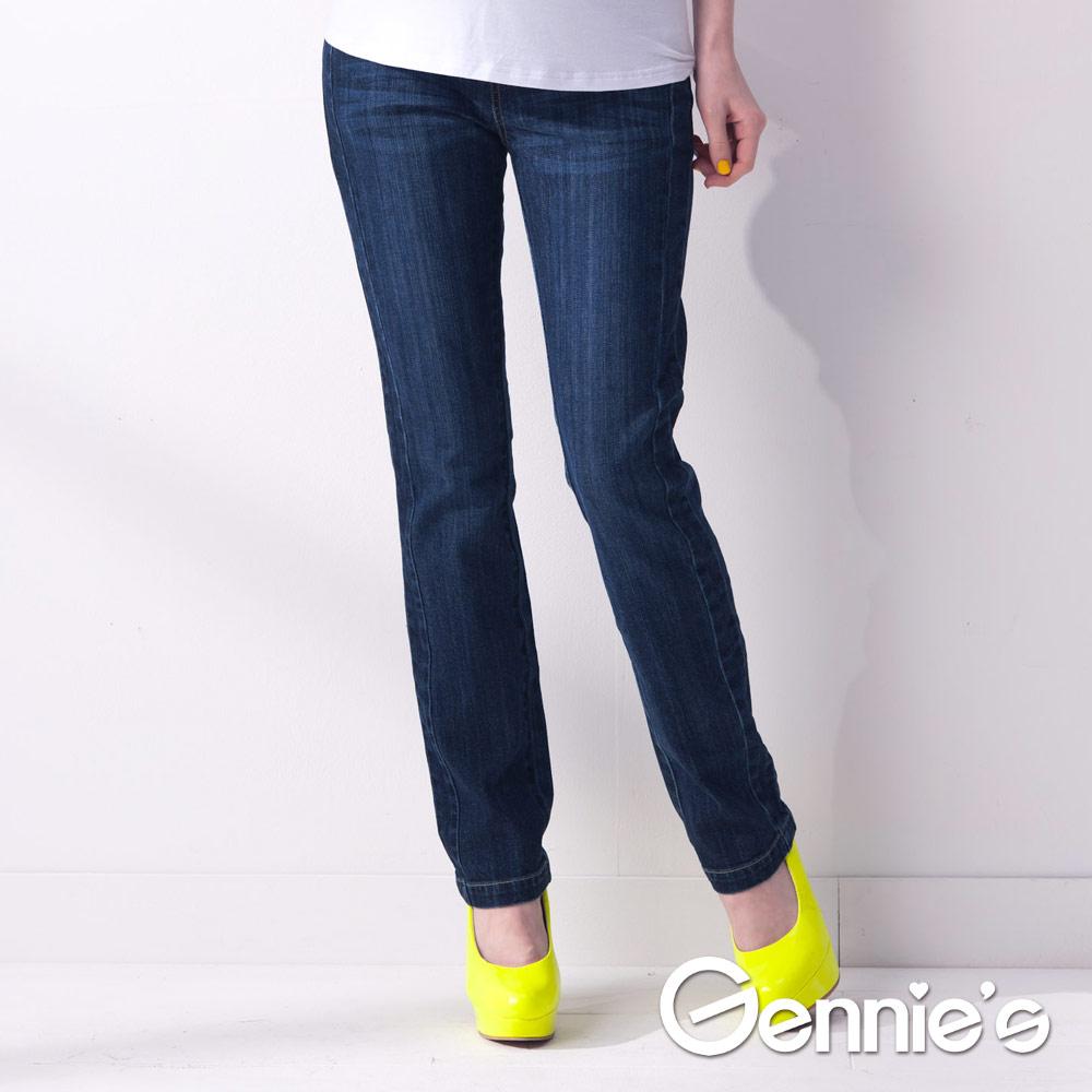 Gennies專櫃-個性風單寧春夏孕婦長褲 (G4V37)