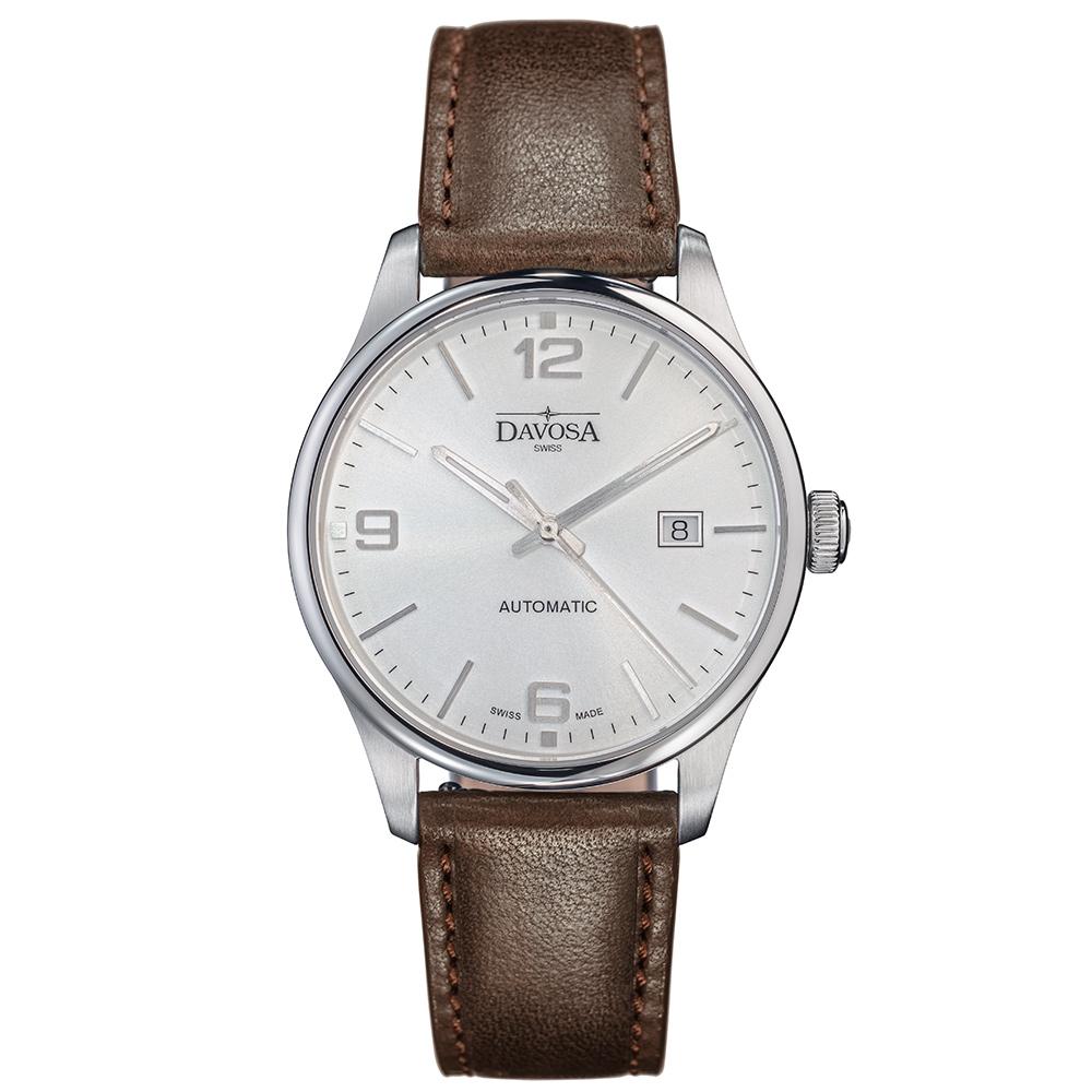 DAVOSA Gentlemen 現代經典紳士系列套裝腕錶-白面/咖啡皮帶/40mm