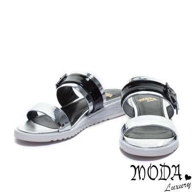 拖鞋 MODA Luxury 前衛鏡面撞色平行繫帶厚底拖鞋-銀