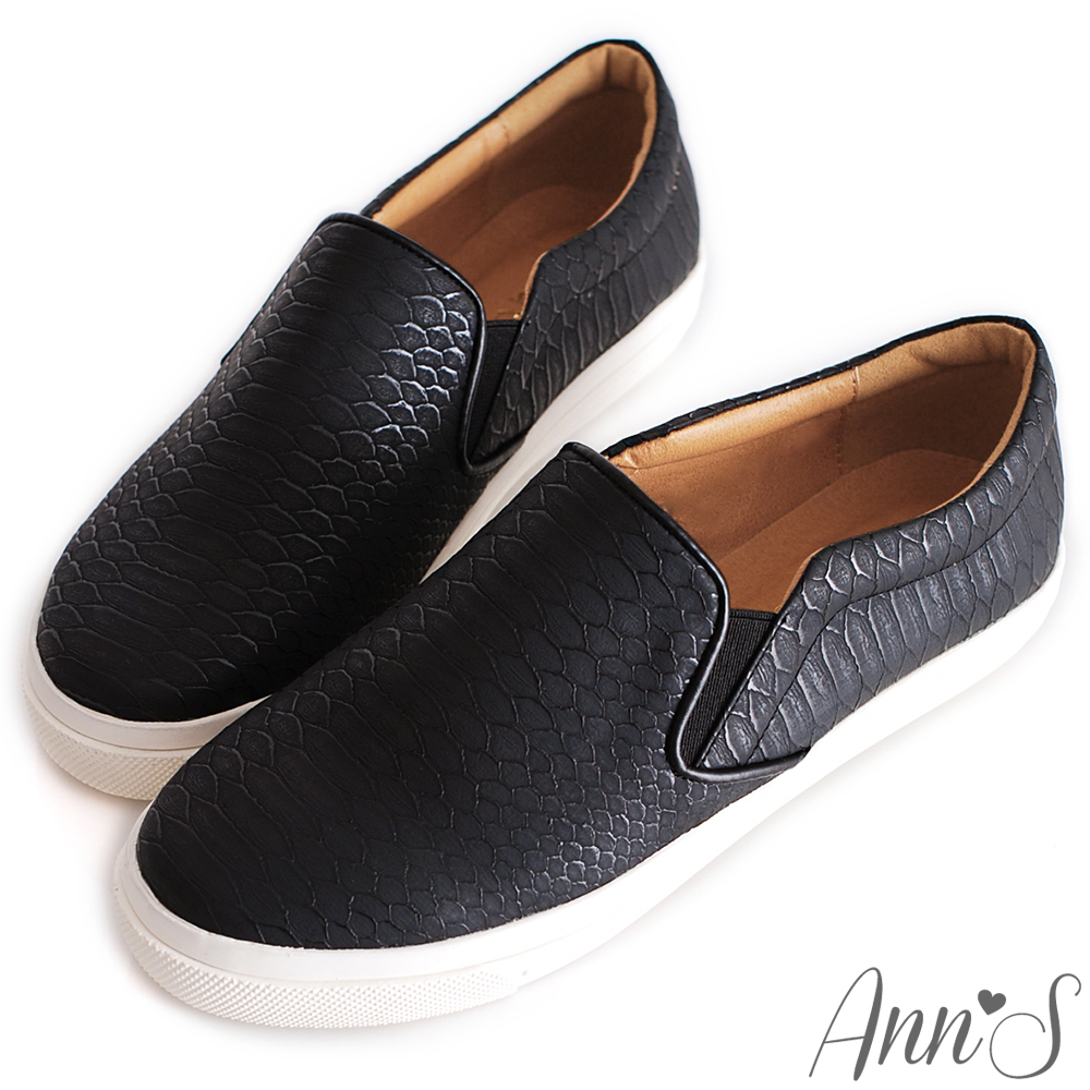 Ann'S經典百搭-柔軟彈力懶人便鞋 蛇紋黑