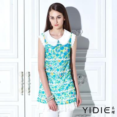 YIDIE衣蝶-花瓣領俏麗圓點繡花蕾絲上衣