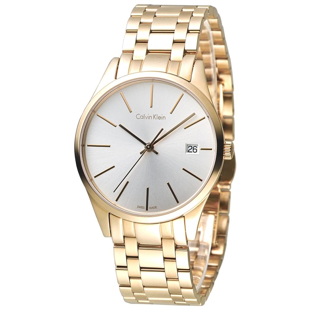 cK TIME 極簡風藍寶石水晶鏡面腕錶(K4N23646)-全IP金/35mm
