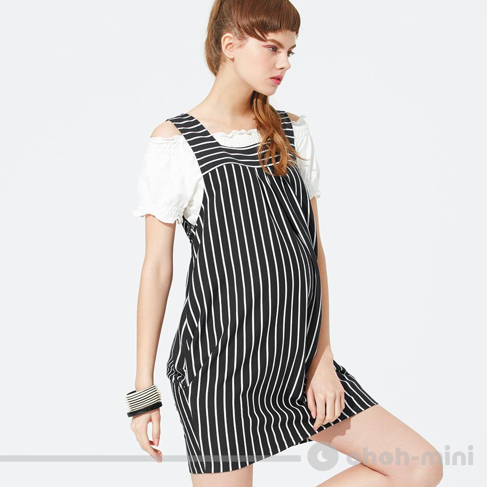 ohoh-mini孕婦裝 條紋下擺抓皺背心洋裝