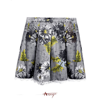 Anny典雅中國風潑墨花朵設計百褶短裙*2263灰