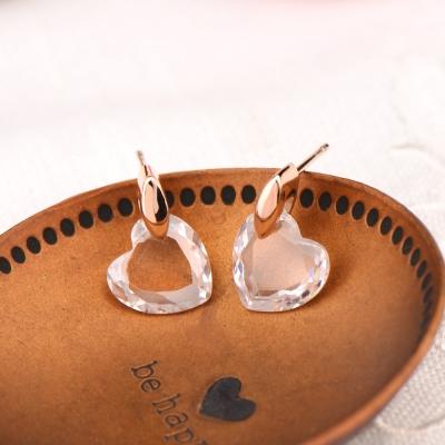 微醺禮物 水鑽 鍍K金 白金 水晶愛心 耳環 兩色
