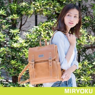 MIRYOKU 經典復古皮革系列 / 活力學院風大容量後背包(共3色)
