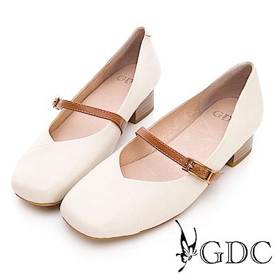 GDC-真皮方頭扣帶質感上班粗跟鞋-米色