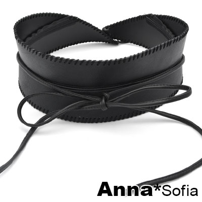 AnnaSofia 訂製款純手工縫線皮革綁帶 寬腰帶馬甲腰封(酷黑系)