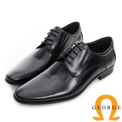 GEORGE 喬治-經典真皮素面德比鞋-黑色