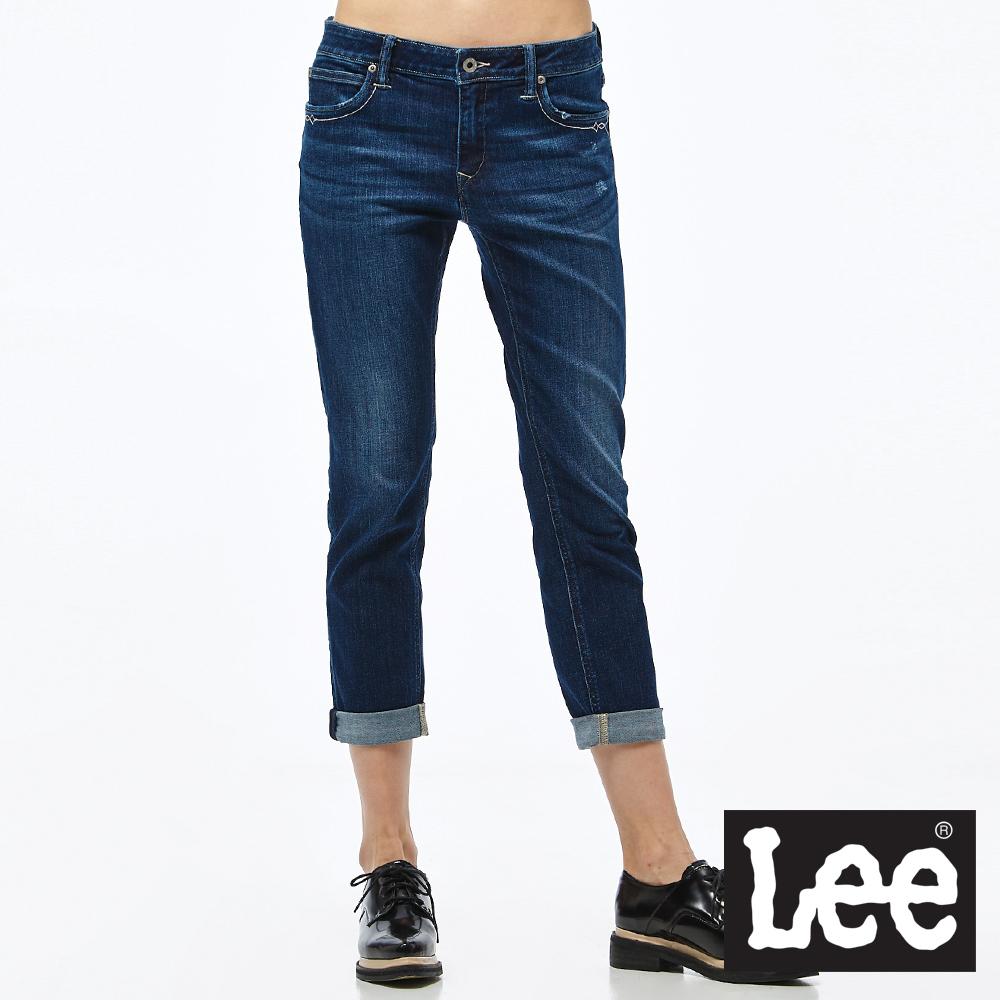 Lee 牛仔褲 401中腰合身小直筒牛仔褲- 女款