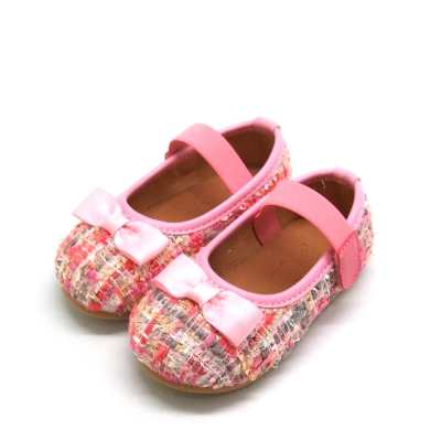 天使童鞋-D378 氣質編織格紋娃娃鞋(小童)-浪漫粉