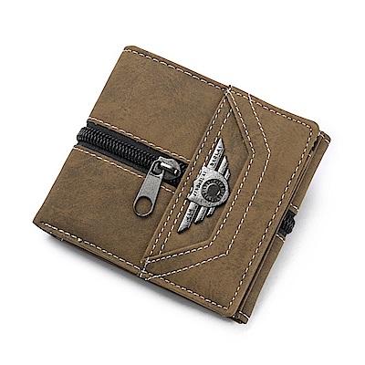 JINBAOLAI  GT1726BR三折復古PU皮夾 附零錢袋咖啡色