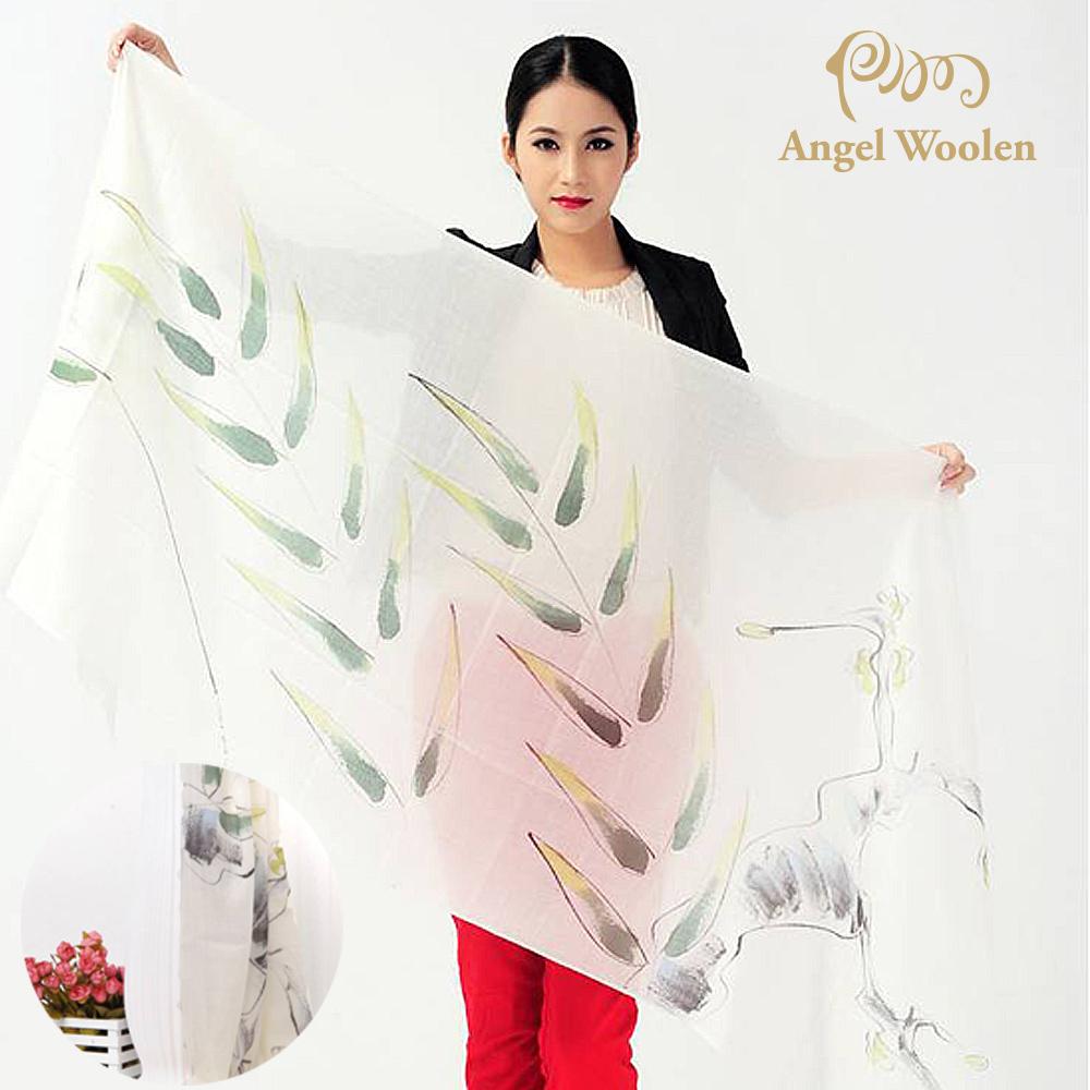 Angel Woolen 手繪工藝100%Cashmere羊絨披肩圍巾(柳綠)