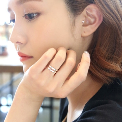 梨花HaNA-韓國925銀雙層光面簡約戒指中性男女