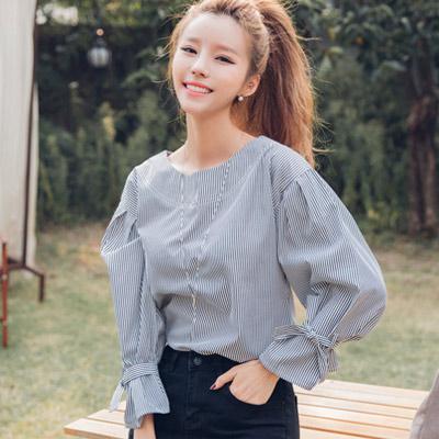 圓領條紋燈籠袖襯衫 (條紋)-Kugi Girl