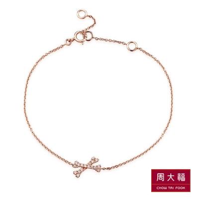 周大福 小心意系列 迷你小骨頭鑽石18K玫瑰金手鍊(6.5吋)