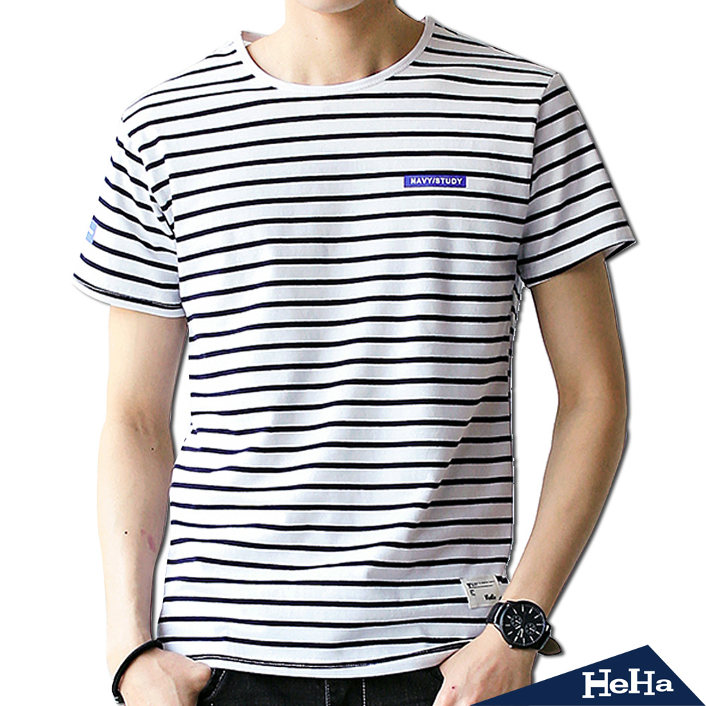 經典細條紋短袖T恤 二色-HeHa
