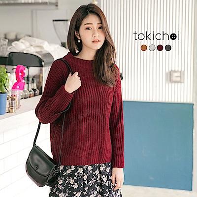東京著衣 多色簡約基本款寬領針織上衣(共四色)