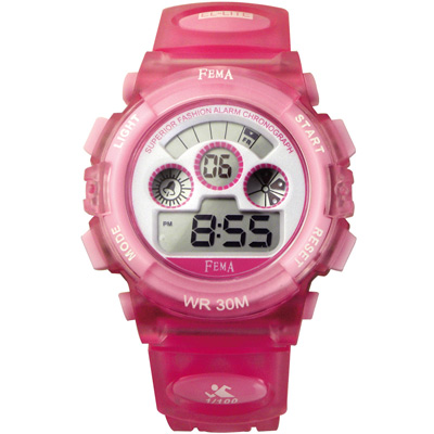 FEMA 繽紛年華 計時鬧鈴 數位休閒錶(P279G)-粉/37mm