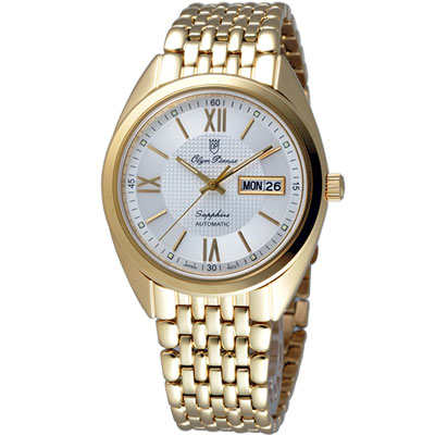 Olympianus  羅馬時尚機械腕錶-金/40mm