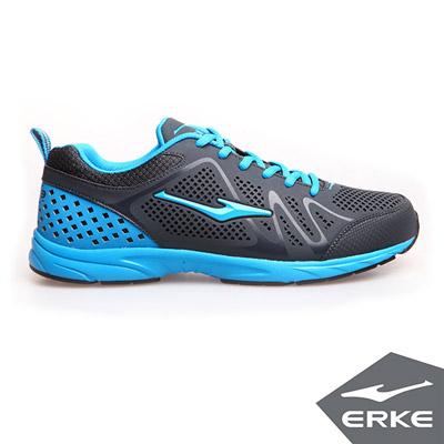 ERKE 鴻星爾克。男運動常規慢跑鞋-碳灰/碧藍