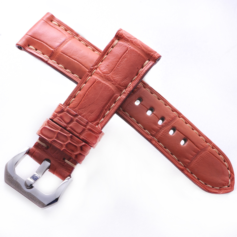 TED SU 太和錶帶 沙漠傳說Panerai 沛納海代用帶飛紅鱷金色線-24*22mm