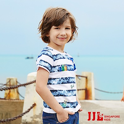 JJLKIDS 帥氣海浪條紋純棉短袖上衣T恤(白色)