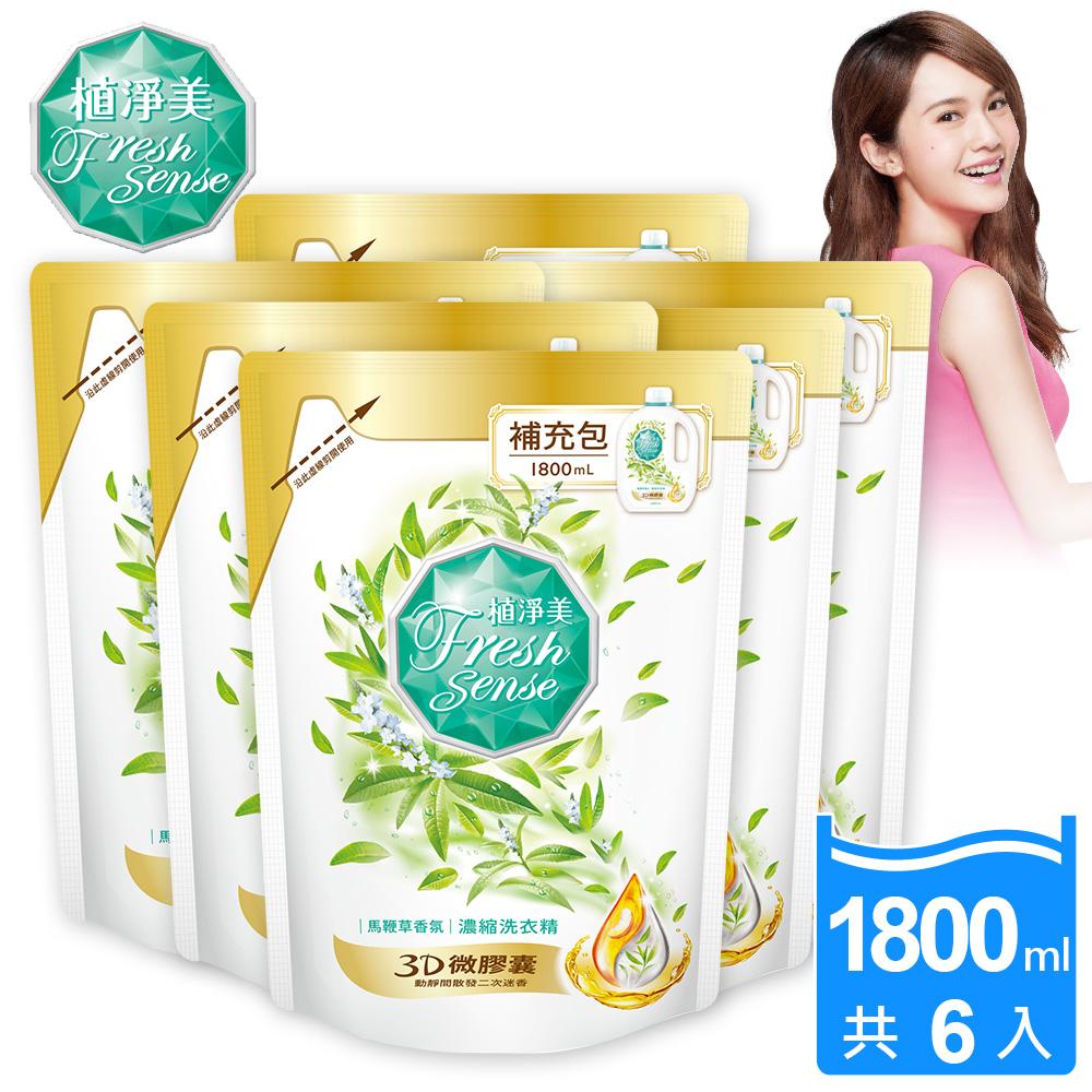 植淨美 草本濃縮洗衣精補充包1800ml x6包-馬鞭草香氛/箱