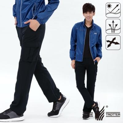 【遊遍天下】男款涼爽超顯瘦彈性多口袋吸濕排汗抗UV長褲P133丈青