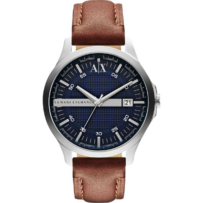 A│X Armani Exchange 雅痞時尚風格腕錶-藍x咖啡/46mm