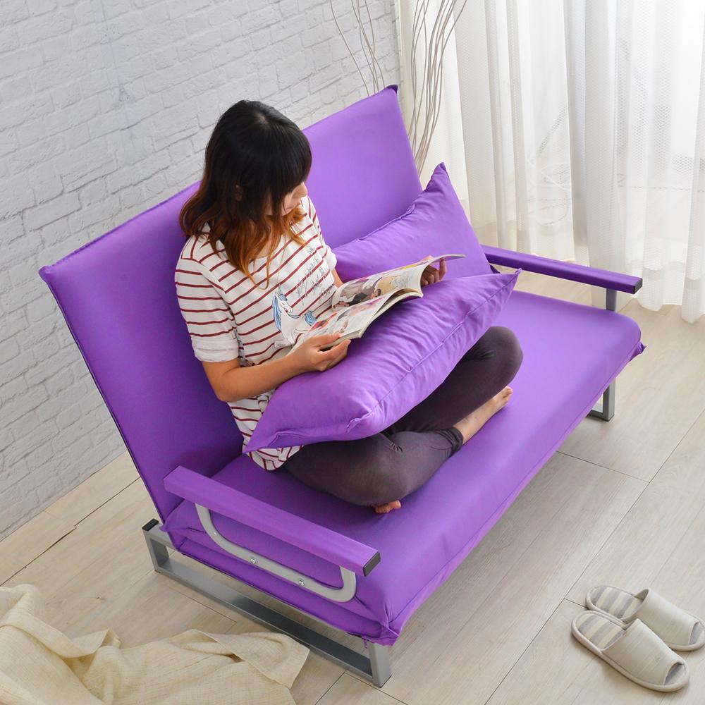 【四季良品】紫色嘉年華雙人沙發床/椅
