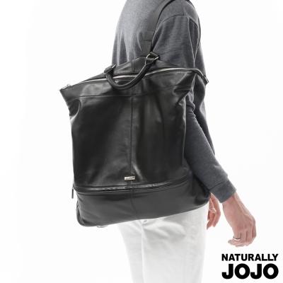 NATURALLY JOJO 高級羊皮率性後背包(黑)