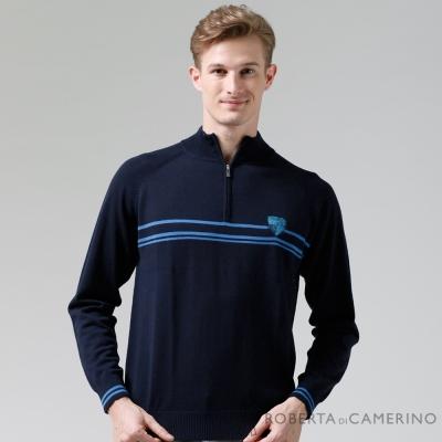 ROBERTA諾貝達-進口素材-台灣製-拉鍊高領柔軟細膩-純美麗諾羊毛衣-深藍