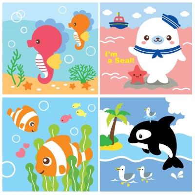 LOVIN 超萌韓版數字油畫海洋系列(09-12) 4幅 20X20