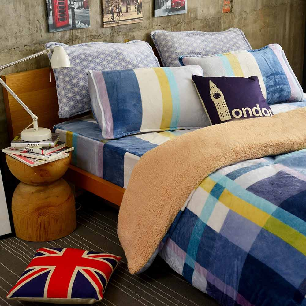 Ania Casa 超保暖法蘭絨-加大床包被套四件組-無印風